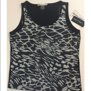 NWT Blk & White Sequins Sleeveless Top Size Large